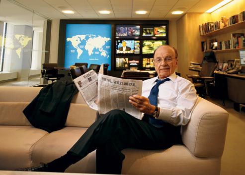 Rupert Murdoch reading his crown jewel, The Wall Street Journal. Image via Luxedb Magazine