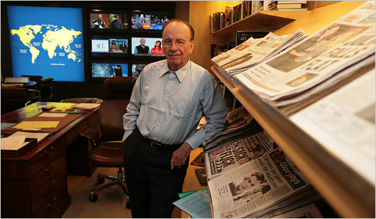 Rupert Murdoch at his office in New York.. Photo via The New York Times.