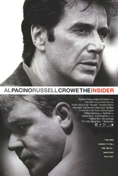 The official poster for Michael Mann's 1999 film The Insider. Image Via movieposter.com
