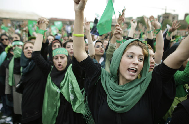 Protestors at a rally in 2009 during the so-called Green revolution where social media played a significant role in mobilizing support for the opposition candidate, Mir Hossein Mousavi. Source: AP. Via Foreign Policy Association.