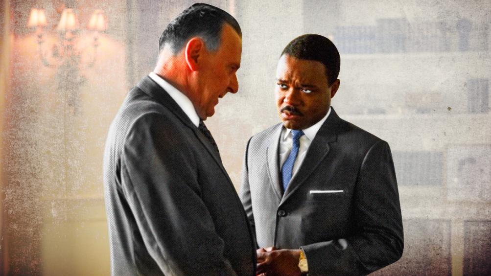 Leading men: Tom Wilkinson as Pres. Lyndon Johnson and David Oyelowo as Dr. Martin Luther King, Jr. Illustration by Vince Wasseluk via Grantland.