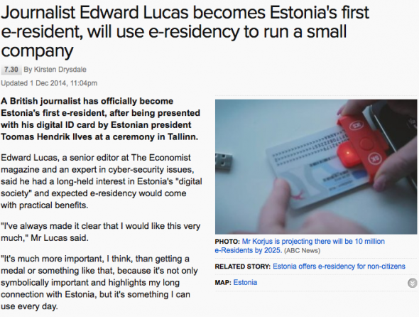 Journalist Edward Lucas becomes Estonia's first e-resident