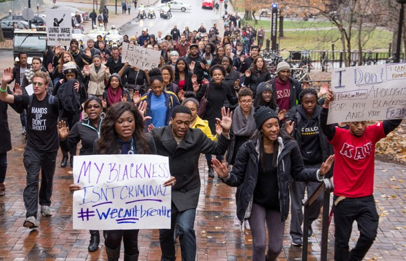 source: PBS.org, December 4th, 2014 - Students gather to march and protest against police brutality in and around Vanderbilt's campus Thursday afternoon.