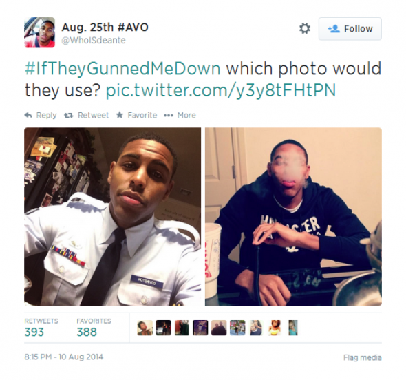 An example of the trending hashtag #IfTheyGunnedMeDown from Twitter user @WhoISdeante.
