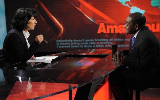 Mugabe with Amanpour