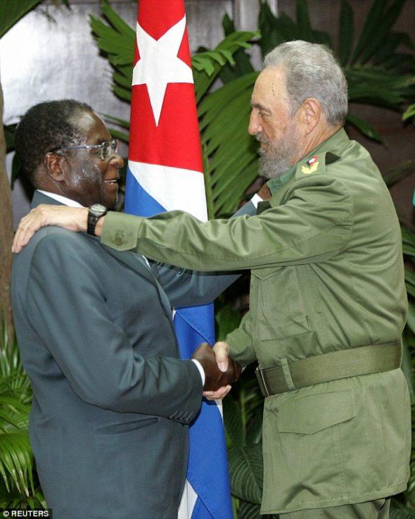Mugabe with Cuban Dictator Fidel Castro