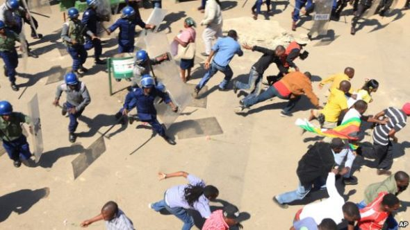 Protest in Zimbabwe Pic: VOA