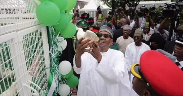 Nigerian President, Muhammadu Buhari at the Independence day celebration in the country.