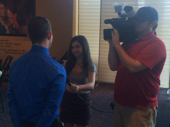 Me interviewing for one of my first stories done for KETV Newswatch 7 in Omaha.