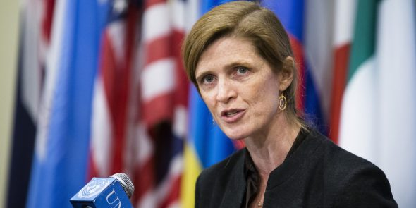 Another of my favorite leaders: US Ambassador to the United Nations Samantha Powers (AP Photo/John Minchillo)