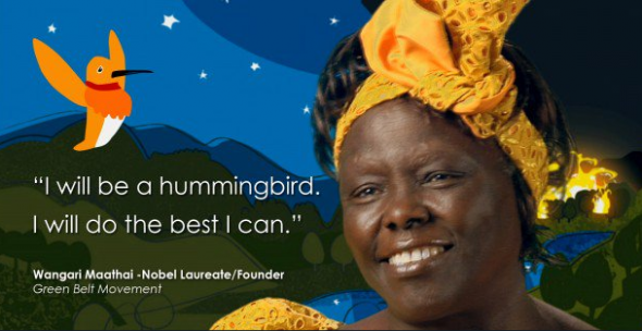 Screenshot of Prof Wangari Maathai, the first African woman to win the Nobel Peace Prize for championing environmental conservation, social justice and women empowerment.